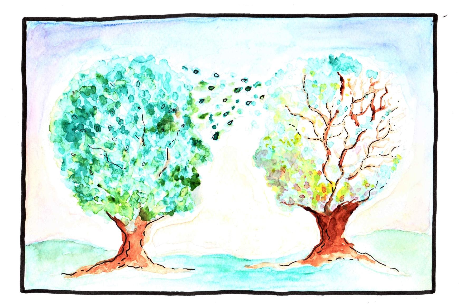 Painting of two trees