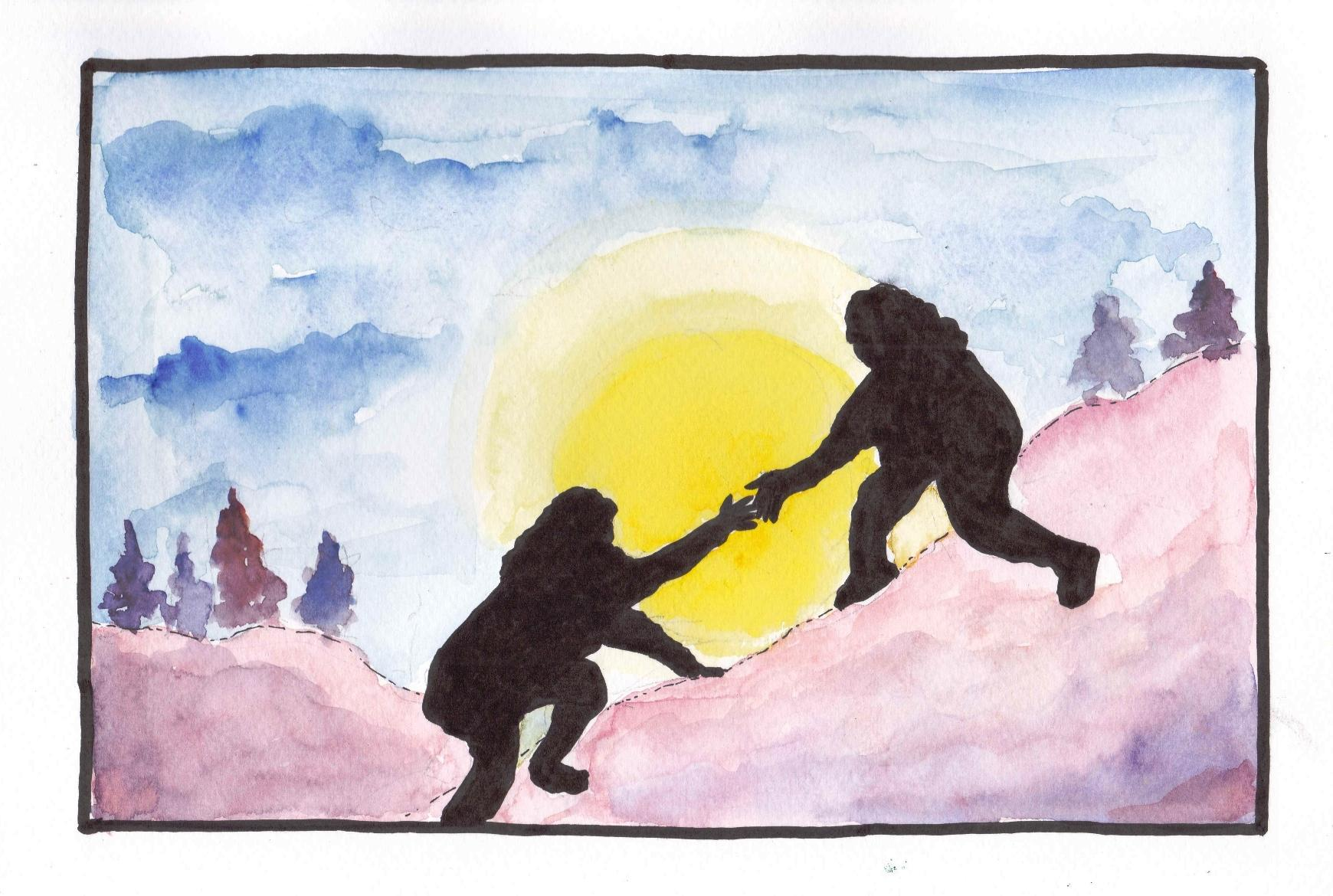 Painting of two people helping each other climb a mountain